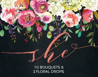 Pink Peach Flowers Peonies Roses Watercolor Clipart White Hydrangea Wedding Clip Art PNG Floral Bouquets Sprays DIY Printable Invitation