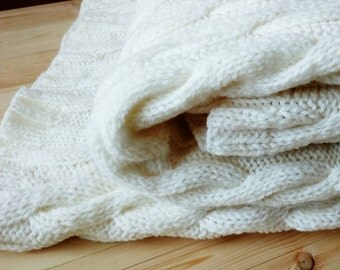 White Cable knit rustic blanket. Hand Knit Blanket. Knitted cosy couch cover Cosy blanket Throw size Comforter. Knitted cosy blanket Afghans