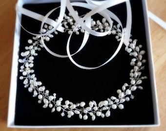 Silver headpiece, Bridal halo, pearl hair vine, ivory hairvine, pearl and crystal headpiece, bridal crown, freshwater pearl wreath