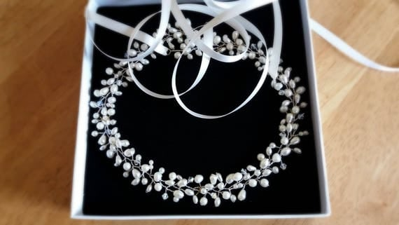 Silver Pearl and Crystal Bridal Headpiece