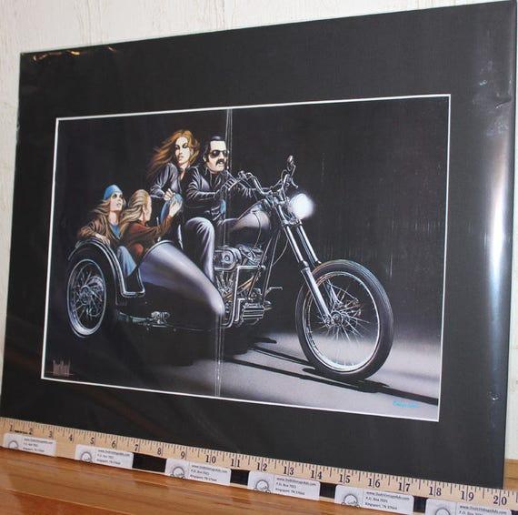 "David Mann ""Three Brides For A Biker'' 16'' x 20'' Matted Motorcycle Biker Art #7904ezrxmb"