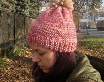 Knit hat hand knit hat pom pom hat knit beanie pom pom beanie winter hat wool hat pink hat