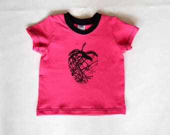 Baby short sleeve t-shirt, toddler short sleeve t-shirt in pink with black collar and strawberry print in black