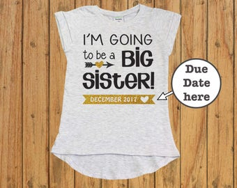 Personalized Big Sister Shirt, big sister announcement, big sister gift, I'm Going to be a Big Sister, sister glitter shirt big sister to be