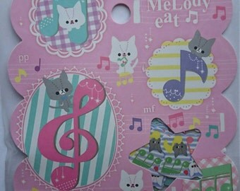 "Q-lia ""Melody Cat"" sticker flakes, 50 pieces & large sticker flake, kawaii"