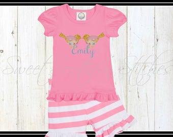 Birdie Tshirt / EMBROIDERED / Girls Ruffle Birdie Tee / Girls Summer Tee
