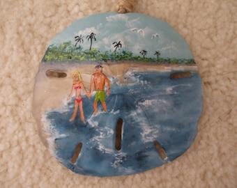 A Walk on the Beach, Hand Painted Sand Dollar Ornament, Beach Ornaments, Coastal Decor, Seashells