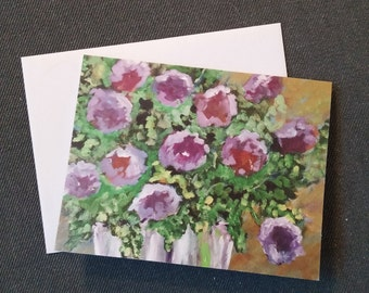 4x51/2 floral greeting cards Purple flowers note cards Thank you floral cards