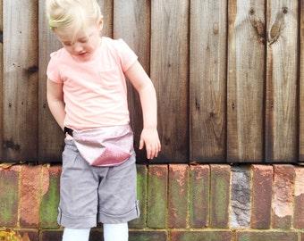 Kid's bumbag Rose Gold. Child's fannypack. Glitter hipbag.