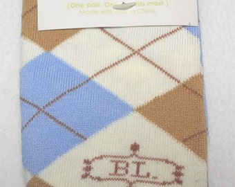 Baby Legwarmers Ivory argyle with brown and tan