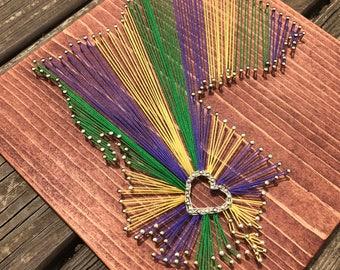 New Orleans NOLA Louisiana String Art, Mardi Gras String Art, Mardi Gras Art, Gallery Wall Decor, New Orleans Saints