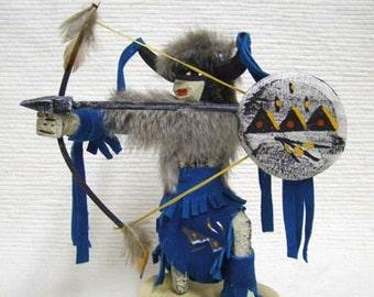 Native American Navajo Made Kneeling Buffalo Warrior Kachina Doll