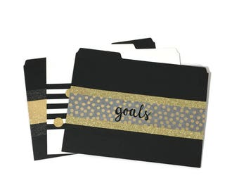 File Folder Set - Fabulous Folders in Black, White, and Gold - File Folders - The Classic Collection