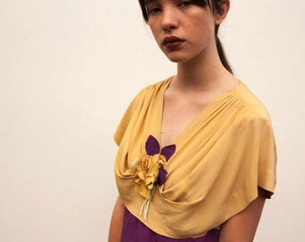 RARE 1930s Art Deco crepe silk dress floral applique