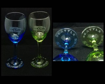 Etched Seahawks wine glasses