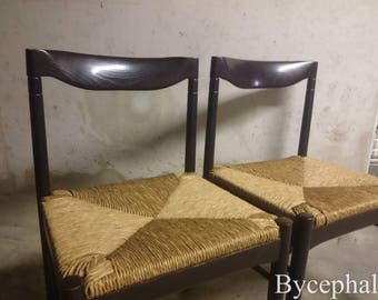 Set of two French Vintage chairs Mid 20th century modern design 1980 straw seat, Charlotte Perriand Pierre Chapo style - 4 chairs available