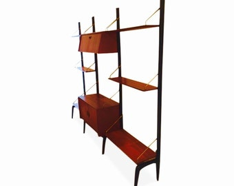 danish midcentury modern modular wall unit by louis van teeffelen for webe
