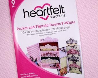 Heartfelt Creations Flip Fold Pockets and Inserts Set F in White - White Mini Album Pockets - White Flip Fold Pockets & Inserts Set F