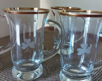 Vintage Rumania Crystal Gold Rimmed Teacups, Vintage Teacups, Dining and Serving, Teacups, Handmade Crystal, Arcadia