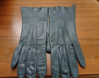 Vintage Ladies Leather Gloves, Black Leather Gloves, Ladies Fashion, Free Shipping