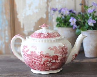 Antique Cottage home. Pink transferware Tea pot. English Scenic by Staffordshire Adams. Warranted Staffordshire - England