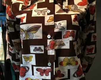 vintage 1970s Brown Butterfly Print Shirt with Butterfly Collar - Size Medium