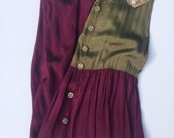SALE 90s Colour Block Maxi Dress