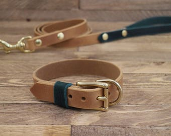 Dog Leash, Combo dog collar and leash, Whiskey leather, leash and collar, FREE ID TAG, Handmade leather collar, Brass hardware, Pet gift.