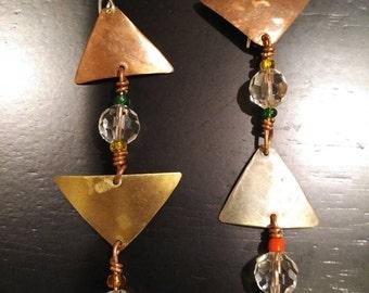 Beaded Copper & Silver earrings