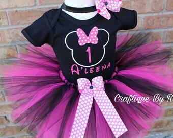 Minnie Mouse Tutu Set - Minnie  Tutu Set - Birthday Outfit - 1st  Birthday Outfit - 1st Birthday Tutu