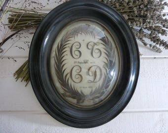 RARE large 1880s Antique French Mourning HAIR Art -2 initials- COUPLE hair- Domed Glass wooden Frame