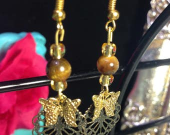 Tigers Eye Gold bead and Butterfly Earrings