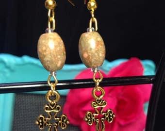 Autumn Jasper gold cross earrings