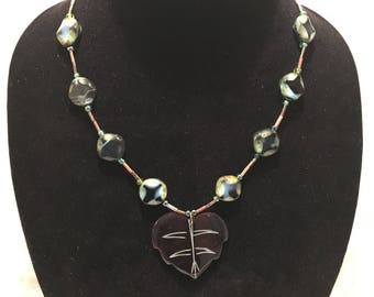 Leaf and Czech Bead Necklace