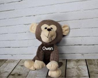 Personalized Monkey - Brown Monkey - Plush Animal - Personalization - Stuffed Animal - Baby Shower Gift - Birthday Gift - Boy Gift - Nursery