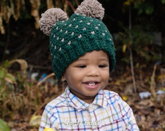 PRE-MADE - Teddy Bear Hat // Baby/Toddler Two-Pom'd Hat