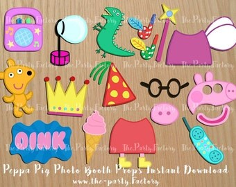 Peppa Pig Photo Booth Props, Instant Download, Digital File