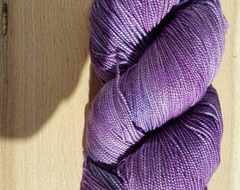 Dark Star on silk.  Deep Purple Tonal on 80/20% Superwash Merino/Silk 600 Yards 150 grams two ply yarn