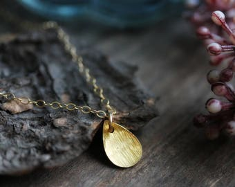 Domed Drop Charm Necklace, Gold Filled Chain, Minimalist Jewelry, Delicate, Dainty