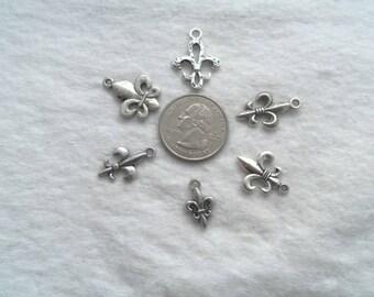 Two Sets of 6 Fleur De Lis Charms- Lead Free, Antique Silver (1169)