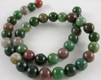 1 Strand 10mm Natural Indian Agate Gemstone Beads Round (B138c)