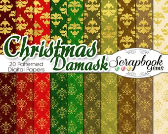 "Christmas Damask Gold Foil Digital Papers SET #1, 12"" x 12"", High Quality 300 dpi JPEGs, Instant Download  velvet gold foil gold glitter"