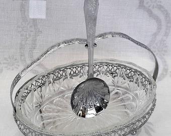 Glass dish, chrome basket and serving spoon, vintage table decor. fruit server, preserves dish. 1970s dining set.