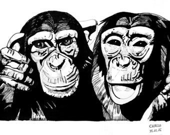 CHIMPANZEES (animal black ink illustration, print)