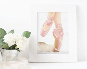 8x10 Print Ballerina en Pointe, Ballet Shoes, Dance, Ballet Art, Watercolor, Print, Toe Shoes, Dancer, Dance Shoes, Dancer Gift, Girl Gift