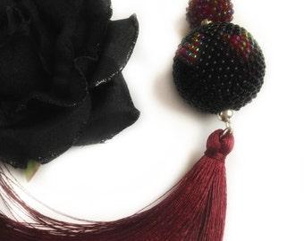 Ball Pendant Necklace beads-crochet-pendant necklace-Pendant Necklace-Black Moon-necklace-Valentine's Day Gift