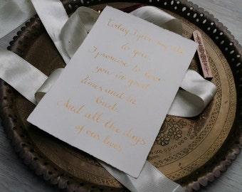 Wedding vows, handwritten quote calligraphy\r, calligraphy vows, calligraphy\r, calligraphy\r, wedding gift, calligraphy\r, wedding vows, gold