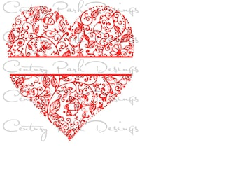 Split Heart SVG Detailed Valentine Ready to Personalize / JPEG / PNG /pdf / use with Silhouette Studio and Cricut Adult Coloring Page