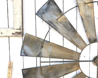 Large Retro Rustic Garden Metal Windmill Blades, Farm, Home & Garden, Living Room, Home Decor, Accents, Wall Hangings,Home Improvement
