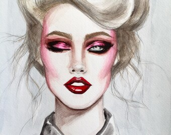 Original Acrylic Fashion Illustration Painting Inspired by the 1980's